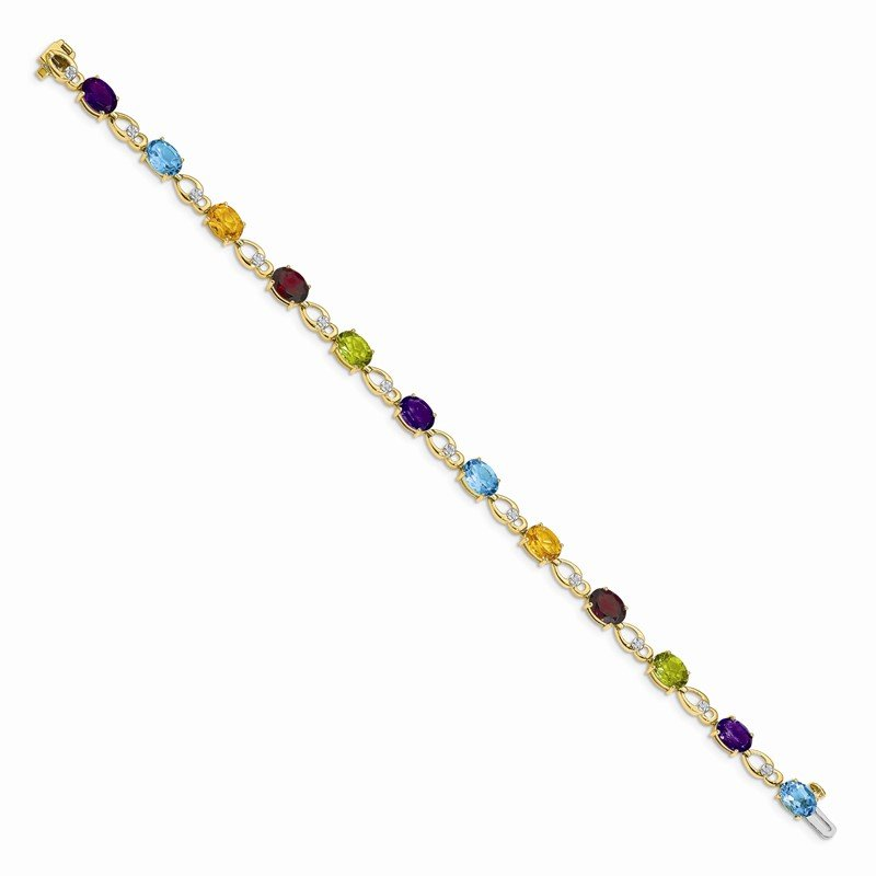 Quality Gold 14k Amethyst and Diamond Bracelet