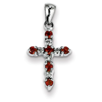 14k White Gold Garnet & Diamond Cross Pendant