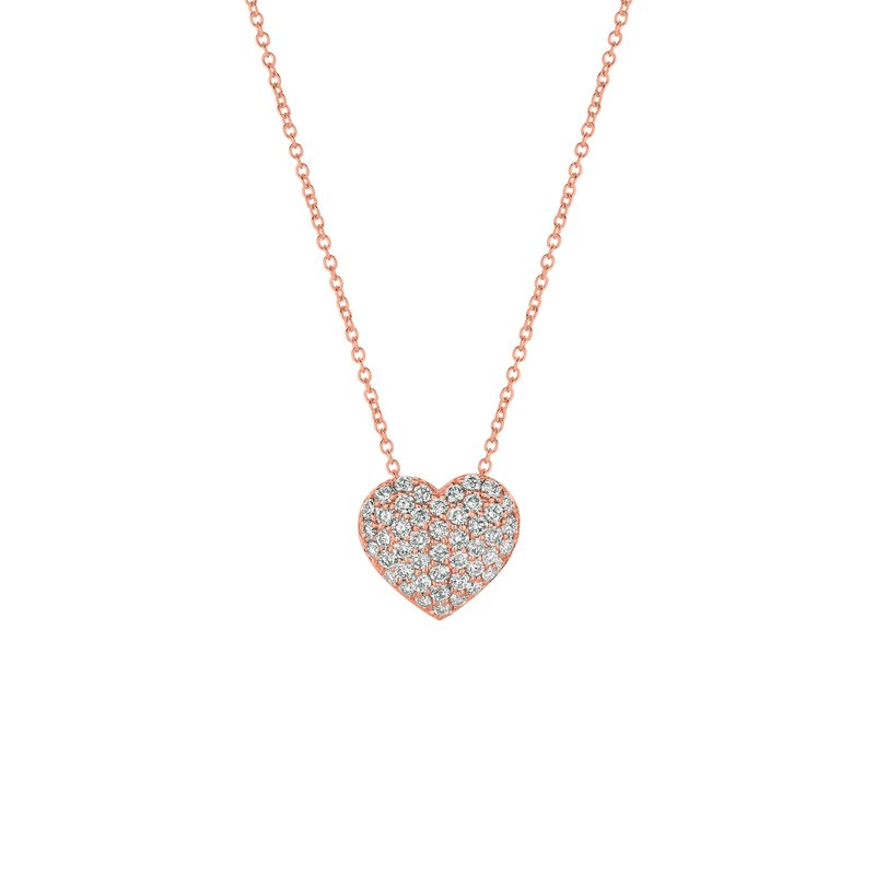 Jewelplus Collection 14k Gold Diamond Pave Heart Chain Necklace