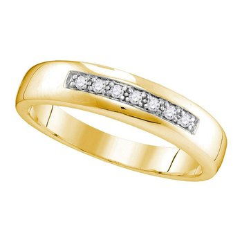 10kt Yellow Gold Womens Round Diamond Single Row Wedding Band 1/10 Cttw