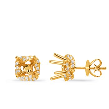 Yellow Gold Diamond Earring for 2cttw