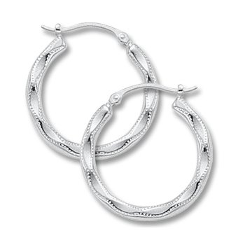 14kt White Hoop Earrings Embossed