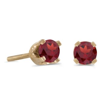 3 mm Petite Round Garnet Screw-back Stud Earrings in 14k Yellow Gold