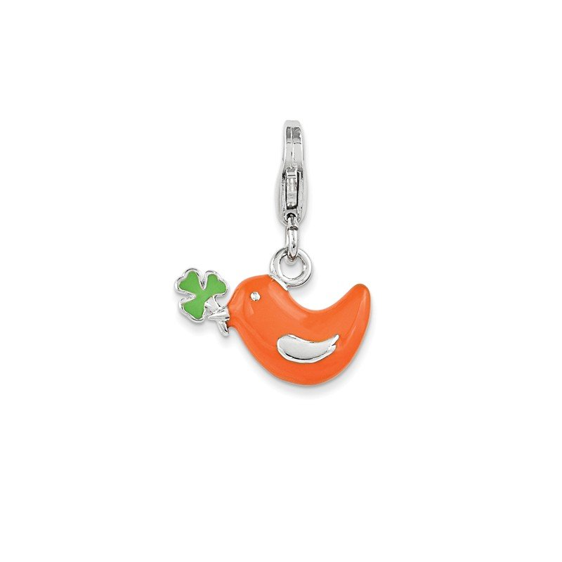 Quality Gold Sterling Silver Enamel Bird & Clover w/ Lobster Clasp Charm