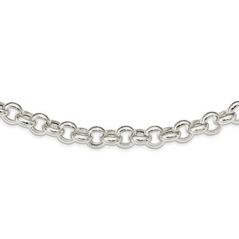 Sterling Silver Polished Fancy Rolo Link Necklace