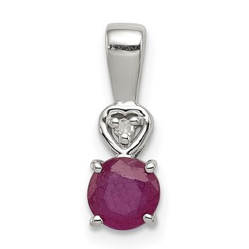 Sterling Silver Rhodium Plated Diamond & Ruby Round Pendant