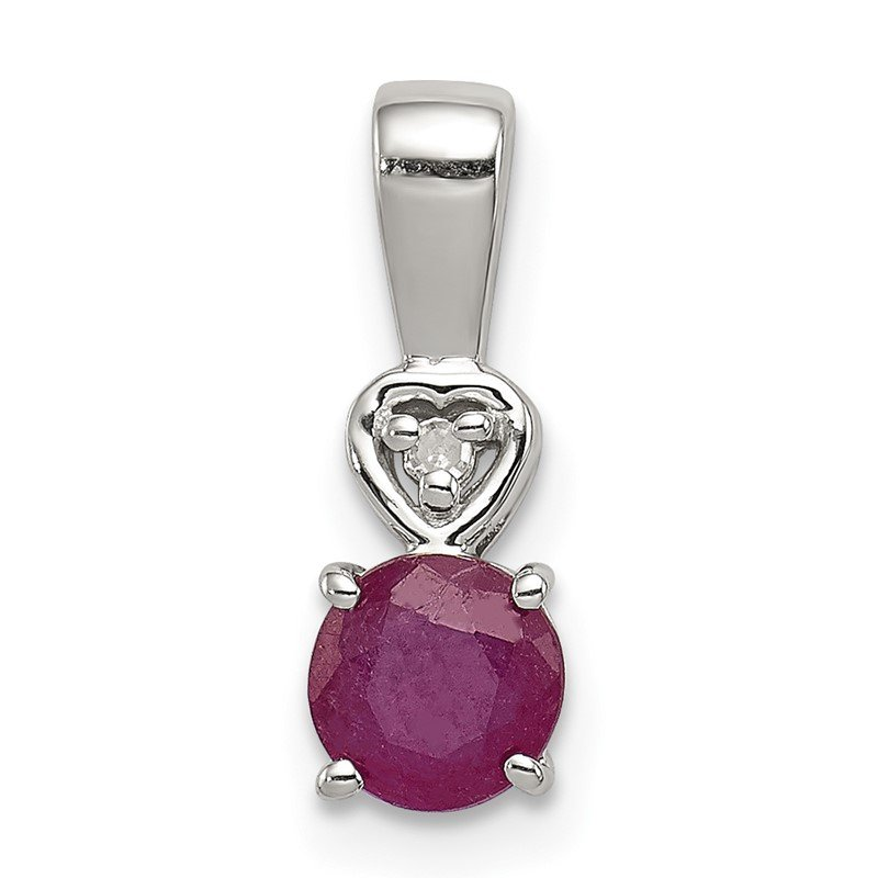 Quality Gold Sterling Silver Rhodium Plated Diamond & Ruby Round Pendant