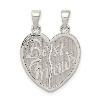 Sterling Silver Polished Best Friends Break Apart Heart Pendant