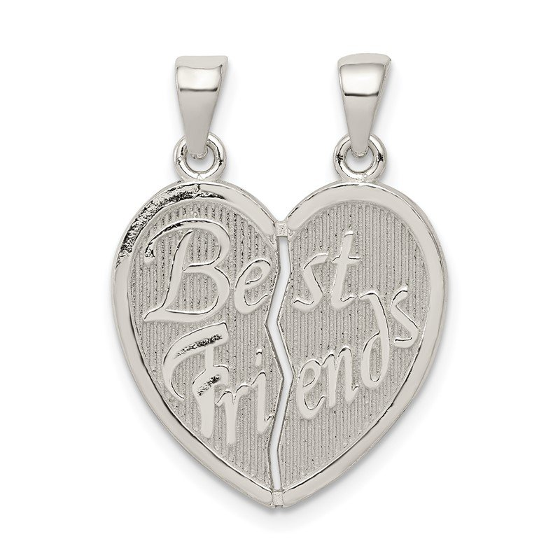 Quality Gold Sterling Silver Polished Best Friends Break Apart Heart Pendant