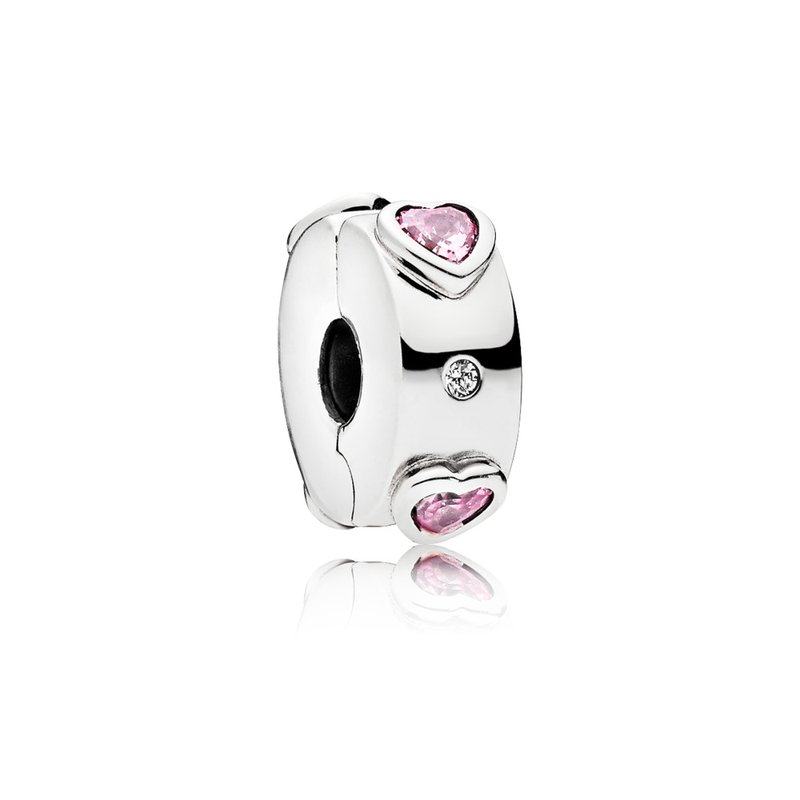 Pandora Explosion Of Love Clip, Fancy Fuchsia Pink Clear Cz