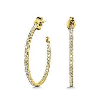 Pave C-Shaped Diamond Hoops