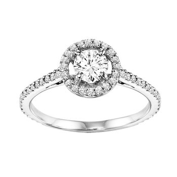 14K Diamond Engagement Ring 1/3 ctw with 1/2 ct Center