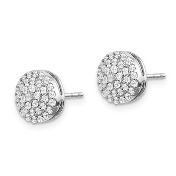 14k White Gold Diamond Round Cluster Post Earrings