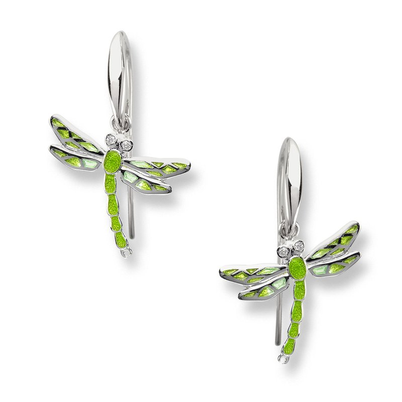 Nicole Barr Designs Green Dragonfly Wire Earrings.Sterling Silver-White Sapphires - Plique-a-Jour