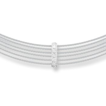 Grey Cable 6 Row Choker Necklace with 18kt White Gold & Diamonds