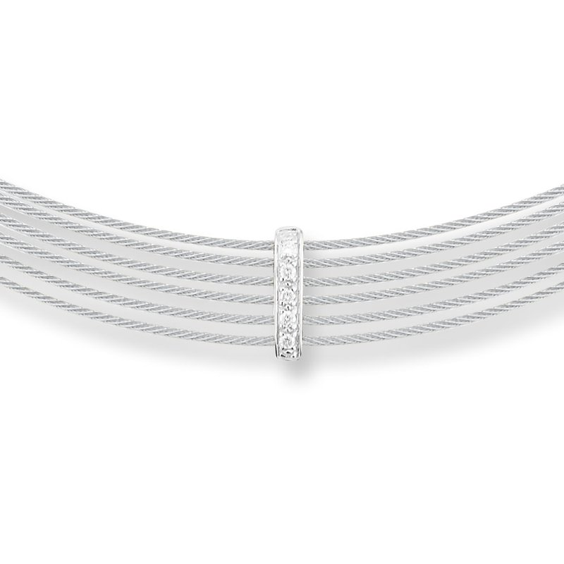 ALOR Grey Cable 6 Row Choker Necklace with 18kt White Gold & Diamonds