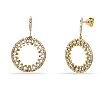 14K Beautiful Pin Point Design Circle Earrings with 160 Diamonds T.W. 0.95C