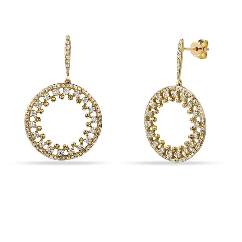 Shula NY 14K Beautiful Pin Point Design Circle Earrings with 160 Diamonds T.W. 0.95C