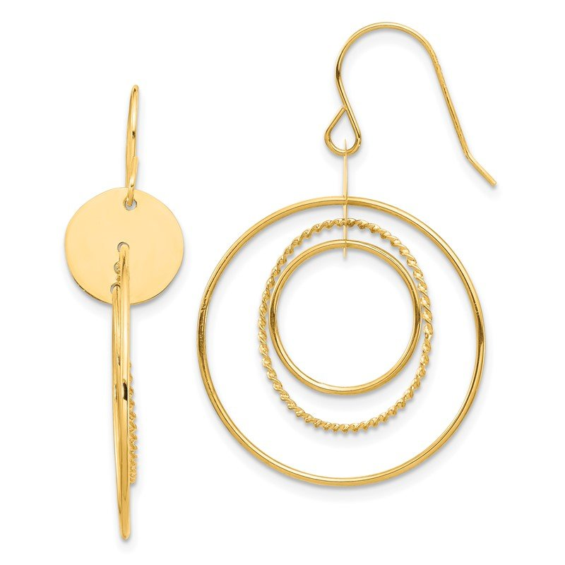 Quality Gold 14K Circle Dangle Earrings
