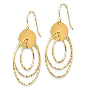 14K Circle Dangle Earrings