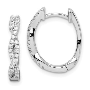 Sterling Silver Rhodium-plated CZ Twisted Oval Hoop Earrings