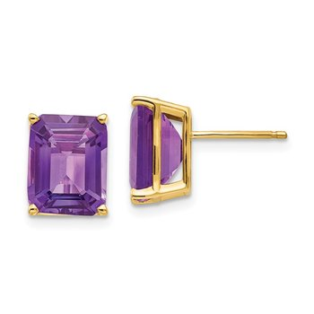 14k 10x8mm Emerald Cut Amethyst Earrings