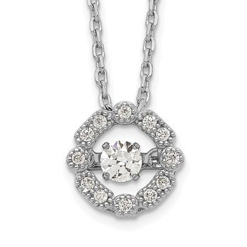 Sterling Silver Rhod-plated Vibrant CZ w/2in Ext. Necklace