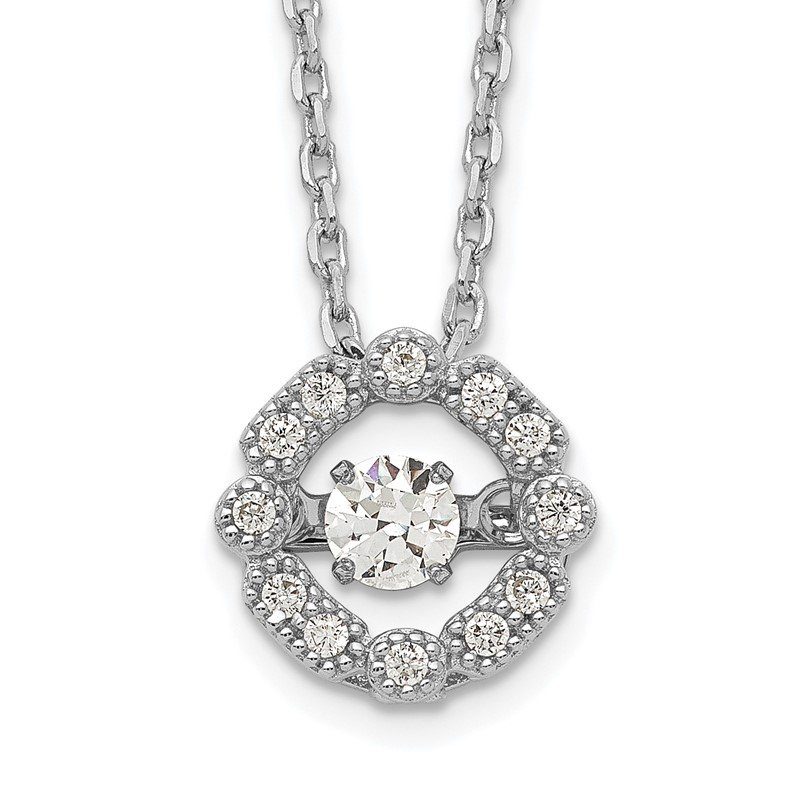 Quality Gold Sterling Silver Rhod-plated Vibrant CZ w/2in Ext. Necklace