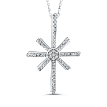 1/4 ct White Diamond Cross Pendant with Chain In Gold