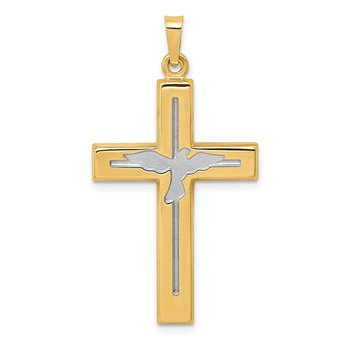 14K W/Rhodium Polished and Satin Cross W/Dove Pendant