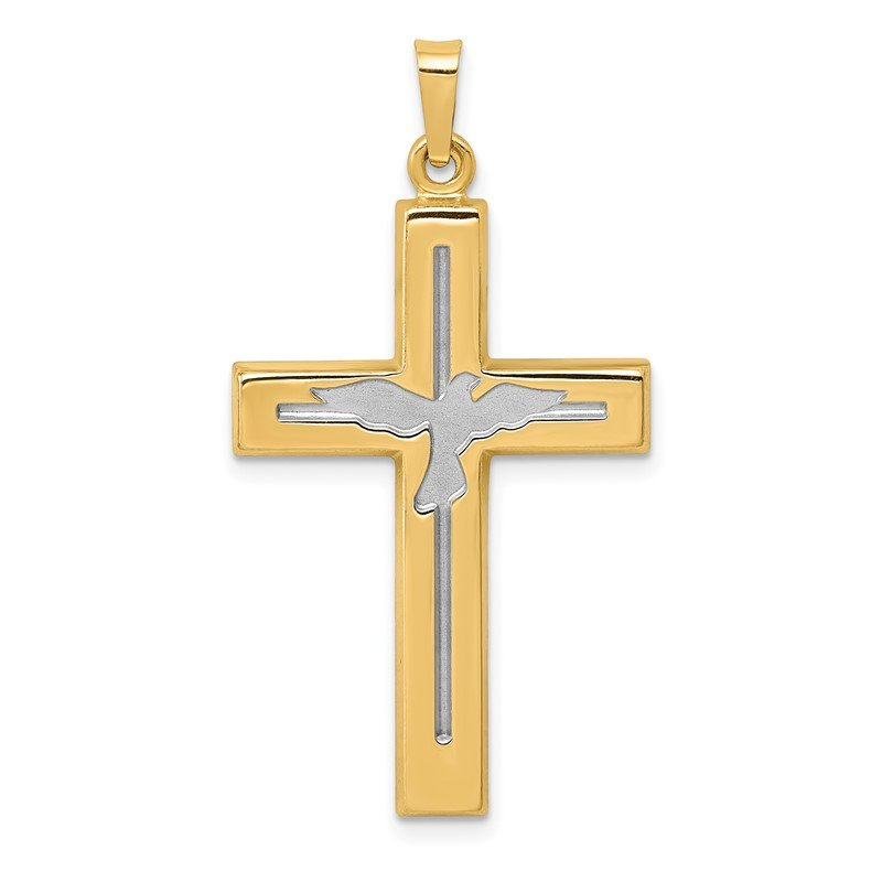 J.F. Kruse Signature Collection 14K W/Rhodium Polished and Satin Cross W/Dove Pendant