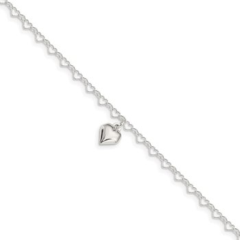 Sterling Silver Polished Fancy Link Puffed Heart 9 in Plus 1in ext. Anklet