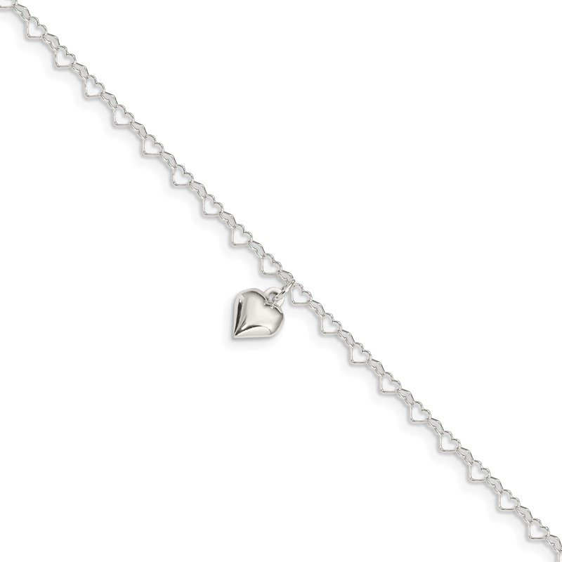 Quality Gold Sterling Silver Polished Fancy Link Puffed Heart 9 in Plus 1in ext. Anklet