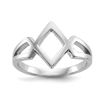 Sterling Silver Rhodium Plated Polished Ring