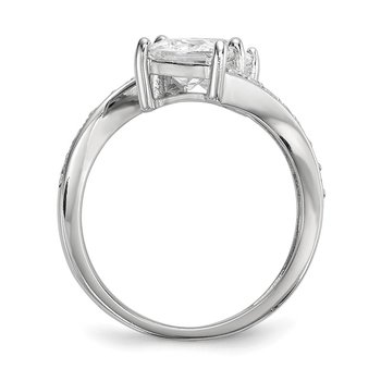 Sterling Silver Rhodium-plated CZ Two Stone Square Bypass Ring