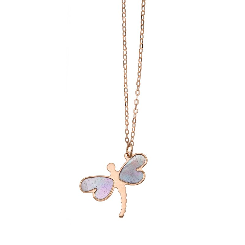 Royal Chain 14K Gold Mother of Pearl Dragonfly Necklace