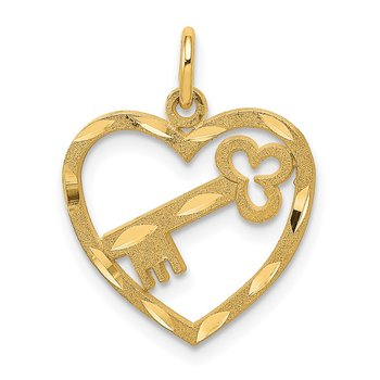 14K Polished Diamond-cut Key in Heart Charm