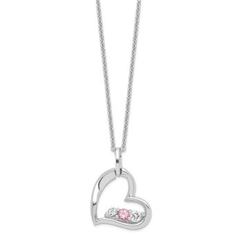 Sterling Silver Survivor Clear/Pink Swarovski Topaz Heart of Strength Neckl