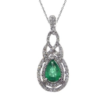 14k White Gold Pear Emerald Diamond Pendant