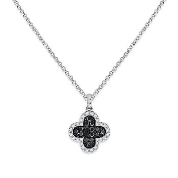 White And Black Diamond Cover Necklace in 14k White Gold with 47 Diamonds weighing .17ct tw.