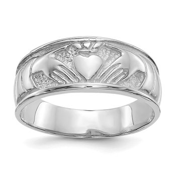 14k White Gold Ladies Claddagh Band