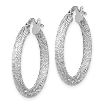 Sterling Silver Rhodium-plated Textured Hoops