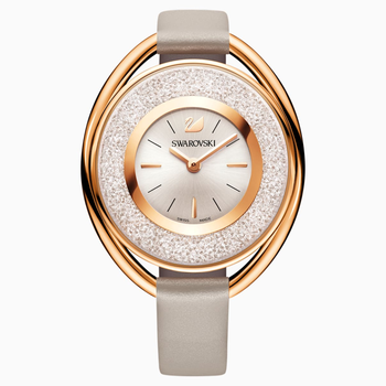 Crystalline Oval Watch, Leather strap, Gray, Rose-gold tone PVD