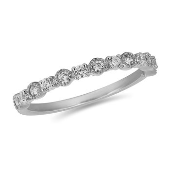 18K WG and diamond Stackable band in bezel and prong setting