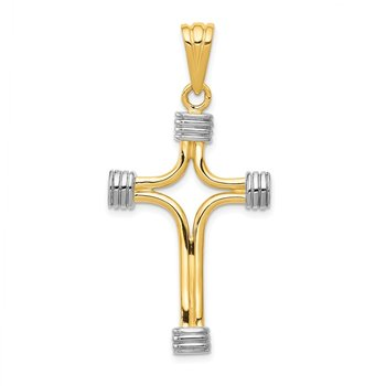 14k w/Rhodium Fancy Cross Pendant