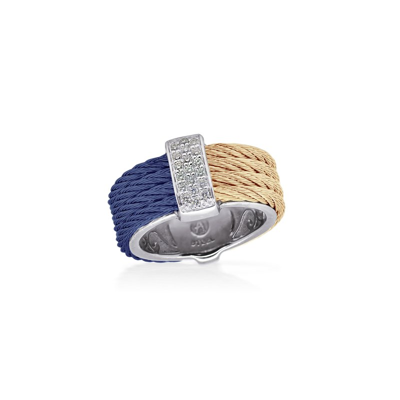 ALOR Blueberry & Carnation Cable Petite Colorblock Ring with 18kt White Gold & Diamonds