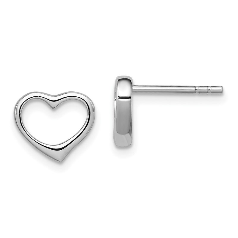 Quality Gold Sterling Silver Rhodium Plated Open Heart Post Earrings