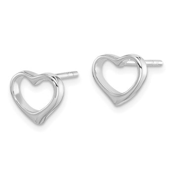 Sterling Silver Rhodium Plated Open Heart Post Earrings