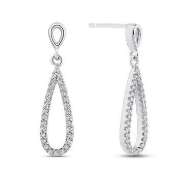 1/3 ct White Diamond Teardrop Dangle Earrings