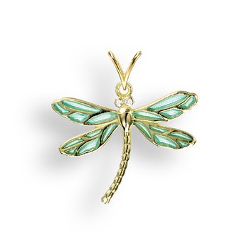 Blue Dragonfly Pendant.18K -Diamond - Plique-a-Jour